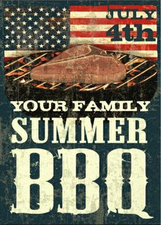 Family #July_4th_BBQ_invitations. Nice rustic vintage textured look.