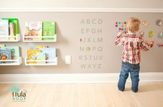 Love this wall! Looks like magnetic paint, and child-height bookshelves for kids playroom Baby Bedroom, Kids Bedroom, Bedroom Wall, Ikea Spice Rack, Spice Racks, Magnetic Paint, Montessori Bedroom, Toy Rooms, Kid Spaces