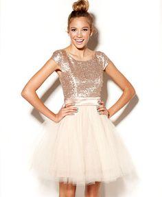My Jr Bridesmaid/Ring Bearess would look so cute in this...Trixxi Juniors Dress, Cap Sleeve Sequin Tulle- Macys.com