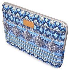 Case Star Bohemian Style Canvas Laptop Sleeve Zipper Bag 13.3-Inch - Blue Lattice
