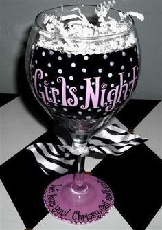 Girls Night Hand Painted Wine Glass by winewhimsy on Etsy, $18.00.. Could be a DIY project
