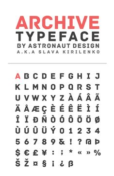 LOVING this typeface... Archive Free Font - Designed by Slava Kirilenko  ( Free Fonts for Designers - Download Now )