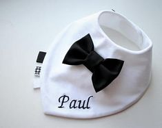Personalised baby bib , Baptism bib, bow tie bib baby bandana bib removable bow tie, baby shower gift for newborn, infant