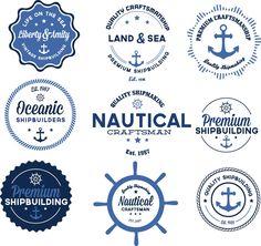 Nautical badges anchor set vector
