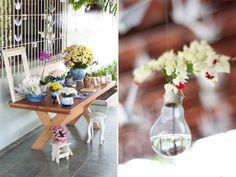 mesa das recordações ♥ Lâmpada com flor