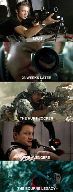 Jeremy Renner REALLY likes shooting things