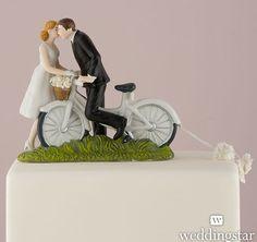 Custom A Kiss Above Bicycle Bride and Groom Couple Figurine | Custom Wedding Cake Toppers