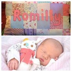 """Beautiful personalised patchwork cushions make beautiful addition to the babies nursery. As the child grows they can be used on their bed.when travelling or playtime on the floor. It makes a great prop for those """"milestone"""" photo shoots too! Birthday Presents For Girls, Gifts For Girls, Baby Shower Gifts, Baby Gifts, Patchwork Baby, Patchwork Cushion, Personalised Cushions, Presents For Women, Baby Girl Birthday"""