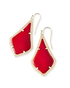 Shop gold drop earrings at Kendra Scott. With bright red bell-shaped stones and a delicate metallic frame, the Alex Earrings are a must-have timeless accessory.