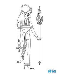 Sekhmet Egyptian goddess & gods Coloring Page (Fanny's note - I am betting on a leonine form of Bast - those ears need to be ROUND if it is Sekhmet) ;)
