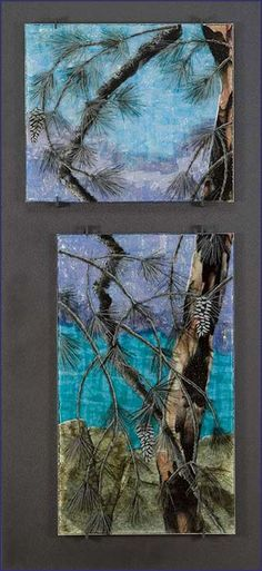 Trio Of Trees 1 Fused Glass By Alice Benvie Gebhart My