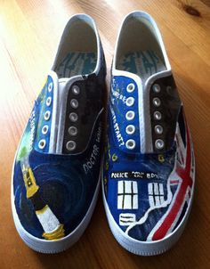 Doctor Who Hand Painted Canvas Shoes...@Sarah Buchanan WE ARE PAINTING SHOES WHEN YOU GET HERE!!!
