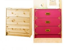 Ikea's popular Rast chest, a dresser Using high gloss paint in a pinkish plum, campaign style drawer pulls and brass flat corners.with a different paint color! Ikea Furniture, Furniture Projects, Furniture Makeover, Home Projects, Painted Furniture, Simple Furniture, Ikea Makeover, Furniture Stores, Bedroom Furniture