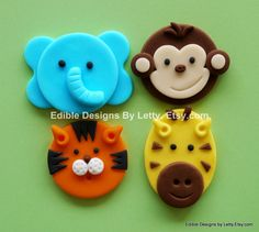 12 Edible Fondant Cupcake Toppers - Jungle animals - Elephant, Monkey, Tiger & Giraffe