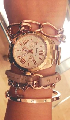watch + arm party bracelets. I'm a jewelry addict, I know.