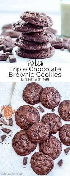 Paleo Triple Chocolate Brownie Cookies! The name says it all! The most fudgy, chocolatey cookies you will ever eat, and you'll never believe they're paleo, grain-free, gluten-free, dairy-free and refined-sugar free!