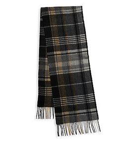 Saks Fifth Avenue Fringed Cashmere Scarf - Camel-Grey - Size No Size