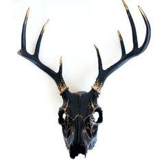 Black Gold Leaf Deer Skull Wall Decor Art OOAK ❤ Liked On Polyvore  Featuring Home,