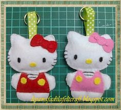 hello kitty keychain and like OMG! get some yourself some pawtastic adorable cat apparel! Cat Crafts, Crafts For Kids, Arts And Crafts, Handmade Felt, Handmade Crafts, Hello Kitty Keychain, Hello Kitty Crafts, Craft Projects, Sewing Projects