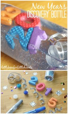 Make a simple New Years Discovery Bottle for a fun sensory activity to share with your kids this New Years. Easy to make New Years discovery bottle for play New Year's Eve Activities, Sensory Activities, Christmas Activities, Winter Activities, Infant Activities, Sensory Play, Sensory Rooms, Sensory Table, Kindergarten Sensory