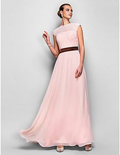 A-line Jewel Natural Floor-length Georgette Evening/Prom Dre... – USD $ 99.99
