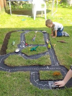 Race Car Track An Easy DIY The kids will have fun with this Tyre Race Car Track and you can make it easily. Check out the Car Garage too!The kids will have fun with this Tyre Race Car Track and you can make it easily. Check out the Car Garage too!