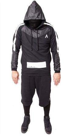8fb75d767659 Long sleeve Jersey cotton fleece hoodie in black. Nylon paneling on hood    shoulders   Stretch facemask.