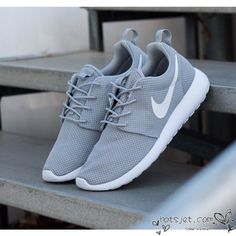 Nike Roshe Run Grey White 2015 Womens Mens - Best Seller