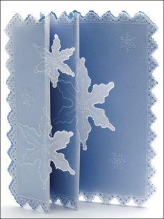 Snowflake Accordion=embossed, vellum-overlaid accordion-fold card