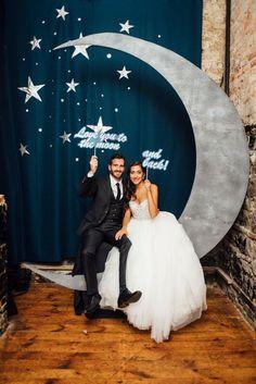 Wedding Chicks An adorable DIY moon photobooth idea See more here: boakviewphotograp… Galaxy Wedding, Moon Wedding, Celestial Wedding, Diy Wedding, Wedding Photos, Dream Wedding, Wedding Parties, Trendy Wedding, Wedding Hair