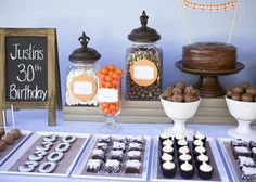 Masculine Dessert Table- Birthday Party - Kara's Party Ideas - The Place for All Things Party 30th Birthday Parties, Birthday Dinners, 50th Birthday Party, Man Birthday, Birthday Cakes, Birthday Appetizers, Birthday Desserts, Birthday Table, 40th Bday Ideas