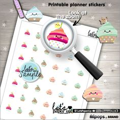 Cupcake Stickers, Printable Planner Stickers, Muffin Stickers, Cute Stickers, Erin Condren, Kawaii Stickers, Planner Accessories, Cakes