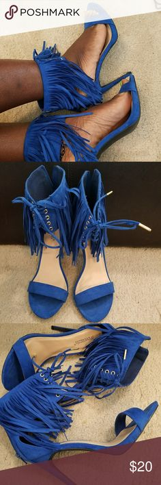 Blue fringe sandal heels Worn once! Shoe Dazzle Shoes Heels