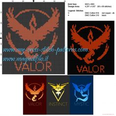 Schema punto croce Team Valor (Pokemon Go)