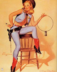 Vintage cowgirl. #Elvgren