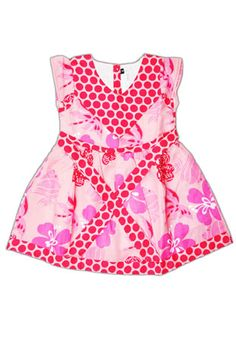 Pink floral printed cotton frock with big polka dots will help brighten up your kids mood and there she is, ready for any occasion.  @Shuji Hisada @· SMALLable ·