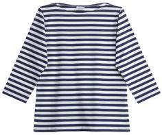 Marimekko Apparel - Ilma T-Shirt - Blue/White Stripe – Kiitos living by design Marimekko Fabric, Boat Neck Tops, Sweater Shirt, Neue Trends, Navy And White, Mens Tops, Clothes, Style, Finland