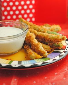 Fried Green Beans with Wasabi Ranch - Fresh green beans (a few large handfuls), washed and ends trimmed 1 egg 1/2 cup milk 1 cup panko 1 cup flour 1/2 tsp. salt 1/4 tsp. pepper 1/4 tsp. onion powder 1/4 tsp. garlic powder 1/2 tsp. paprika Oil for frying