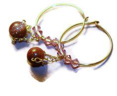 volans - 14k gold hoop earrings by lilla stjarna - ft. sandstone - gifts under 25 - Mother's Day gift - gold hoops - dangle hoops earrings