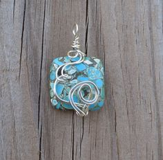 Square Silver Pendant Necklace Wire Wrapped by thedreamersgallery
