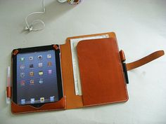 Leather iPad and iPad Air with Notepad and Paper by Socraftleather