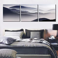 Stretched Canvas Print Art Landscape Mountain Set of 3 - USD $ 59.99