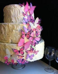 Edible Butterflies \u00C2\u00A9 - Assorted Set of 30 Pink - Cake Decorations, Cupcake Topper