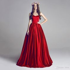 A-line Prom Dresses 2016 Dark Red Sweetheart Sweep Train Long Party Evening Gowns Sleeveless Zipper Back Formal Red Carpet Dresses Online with $86.44/Piece on Olesa's Store | DHgate.com