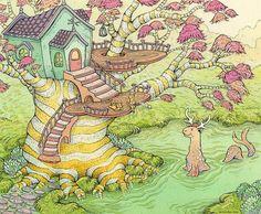 Мы хотим поделиться с вами иллюстрациями дивной художницы и сказочницы Николь Гюстафсон (Nicole Gustafsson). Николь живет с семьей в месте, называемом Тихоокеанским Северо-Западом, или иногда Каскадией. Она рисует иллюстрации в традиционной технике акрилом и гуашью. На ее изображениях оживает мир, названный ею Nimasprout. Мир этот полон покоя, уюта и тепла.