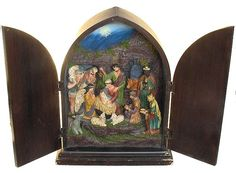 Vintage Shadow Box Relief Christmas Nativity Scene Reliquary Style Cabinet 1950s