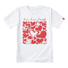 "Zazzle HEART T-Shirt, handmade from 100% East African cotton in Kenya, supporting a mothers of special needs children, to be self-sustaining. T-shirts is white, soft, comfortable and tagless. Customized with red heart pattern and calligraphy text ""Live Love Laugh"". A good idea for a Valentine gift supporting an even better cause."