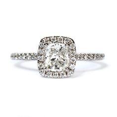 18K White Gold Cushion Cut Diamond Engagement Ring with Diamond Halo. $4295.00 #cushion #hudson_poole_jewelers