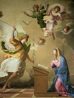 The Annunciation - Eustache Le Sueur Catholic Art, Religious Art, Oil On Canvas, Canvas Prints, Baroque Art, Blessed Mother Mary, Holy Mary, Sacred Art, Christian Art