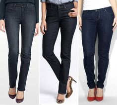 How to select jeans if you're over 45? Here some of our fashion director's favorite styles. From left: NYDJ, $130, nydj.com; Ann Taylor, $60, anntaylor.com; Levi's, $78, levi.com #InStyle